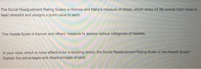 the holmes rahe social readjustment rating scale