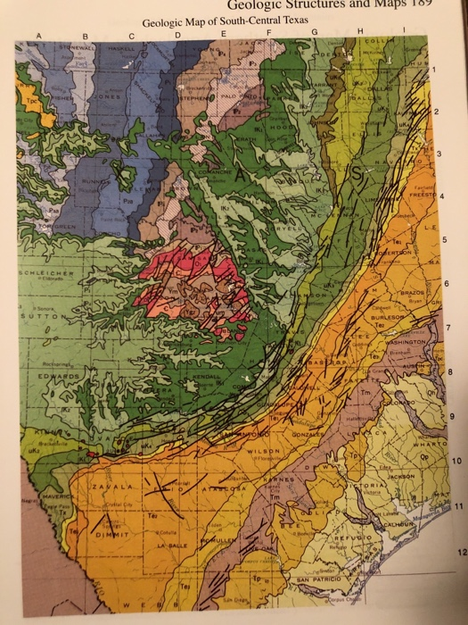 Map Of South Central Texas.Solved The Following Two Geologic Maps 188 191 Are Of Th