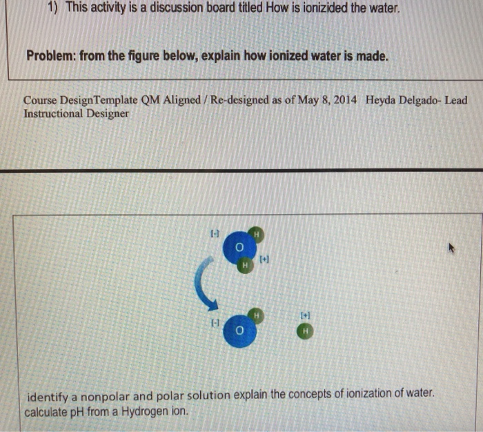 1) This activity is a discussion board titled How is ionizided the water Problem: from the figure below, explain how ionized water is made. Course DesignTemplate QM Aligned/Re-designed as of May 8, 2014 Instructional Designer Heyda Delgado- Lead 1-1 t+l +1 1-1 identify a nonpolar and polar solution explain the concepts of ionization of water. calculate pH from a Hydrogen ion.