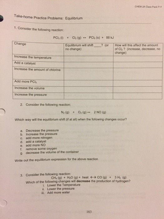 Solved: CHEM 2A Class Pack F17 Take-home Practice Problems