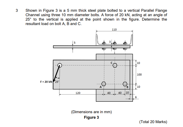 Solved: 3 Shown In Figure 3 Is A 5 Mm Thick Steel Plate Bo