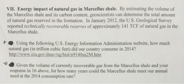 Solved: Energy Impact Of Natural Gas In Marcellus Shale  B