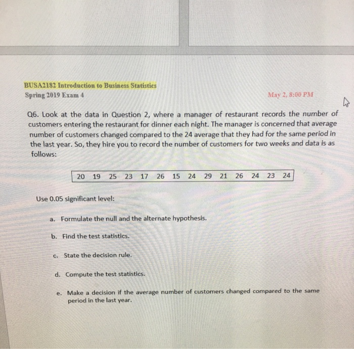 Solved: BUSA2182 Introduction To Business Statistics Sprin
