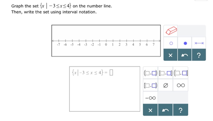 Graph the set fr|-3srs4 on the number line. Then, write the set using interval notation 7 -6 -54 3 2 1 0 234 5 6 7 -O0 ク