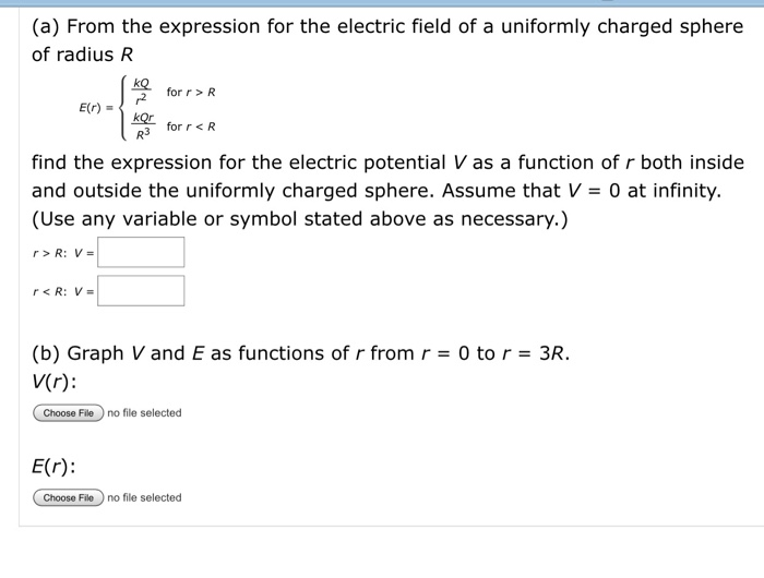 Solved A From The Expression For The Electric Field Of