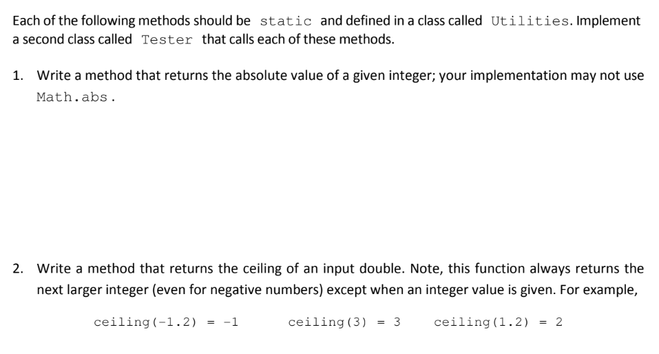 Each Of The Following Methods Should Be Static And Defined In A Class Called Second
