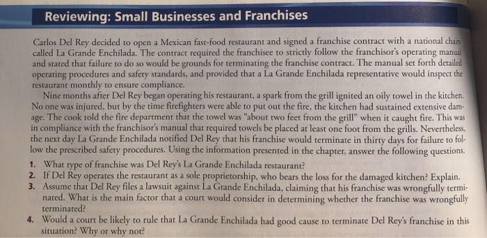Solved Reviewing Small Businesses And Franchises Carlos