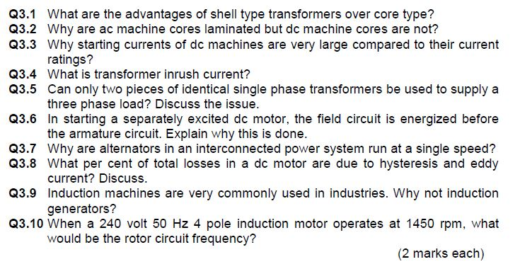 Solved Q3 1 What Are The Advantages Of Shell Type Transfo