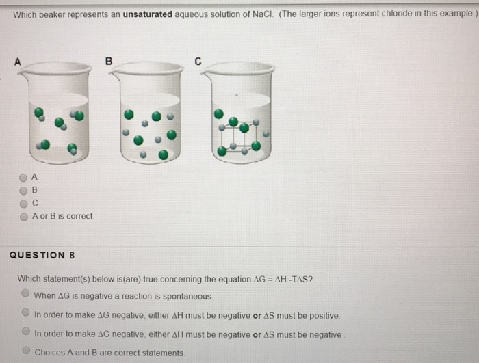 Solved Which Beaker Represents An Unsaturated Aqueous Sol