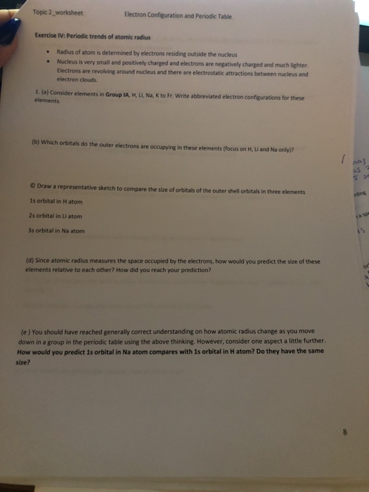 Solved Topic 2 Worksheet Electron Configuration And Perio
