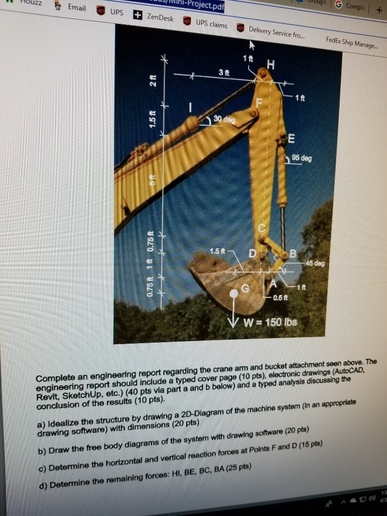 Solved: Complete An Engineering Report Regarding The Crane