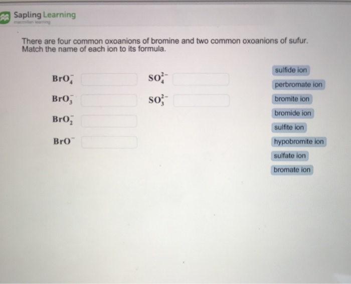 Solved  Sapling Learning There Are Four Common Oxoanions O