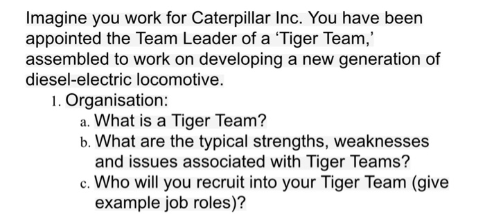 Solved: Imagine You Work For Caterpillar Inc  You Have Bee