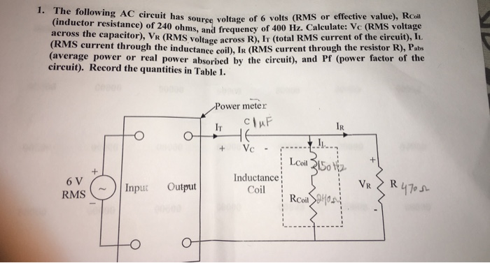 Solved: The Following AC Circuit Has Source Voltage Of 6 V