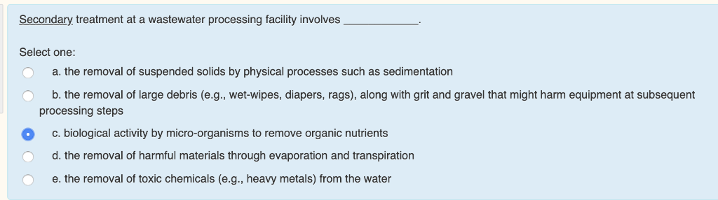 Solved: Secondary Treatment At A Wastewater Processing Fac