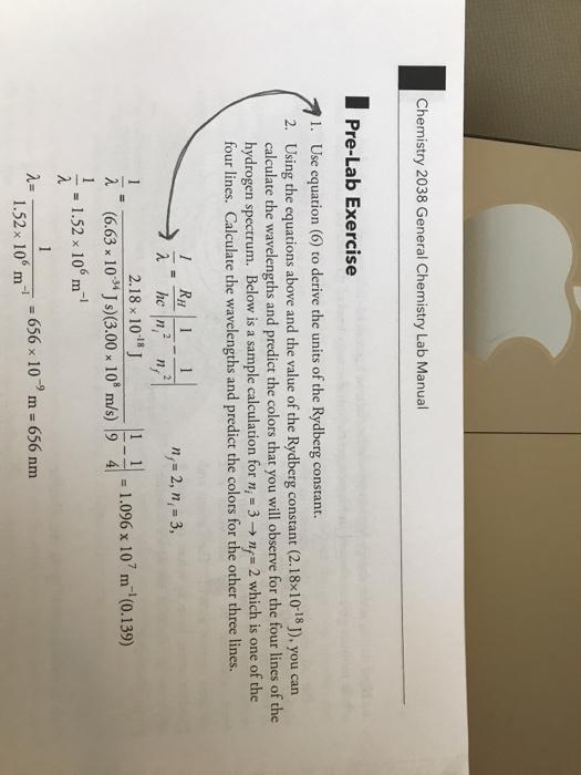 Solved: Chemistry 2038 General Chemistry Lab Manual Pre-La