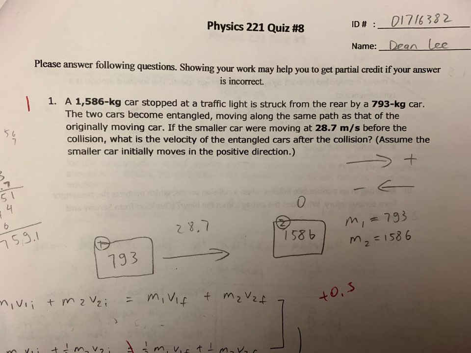 Solved: ID # : 01716332 Name:_Dean (ee Physics 221 Quiz #8