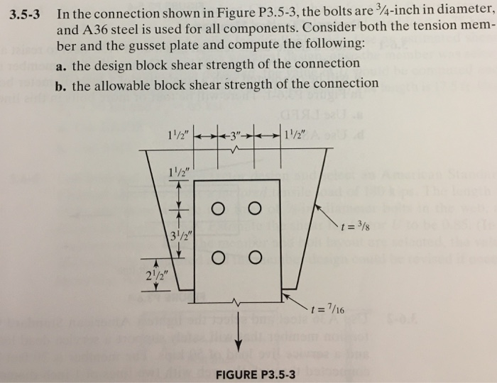 Solved: In The Connection Shown In Figure P3 5-3, The Bolt