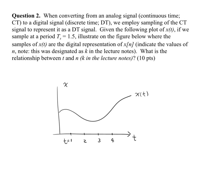 Question 2. When converting from an analog signal (continuous time; CT) to a digital signal (discrete time; DT), we employ sampling of the CT signal to represent it as a DT signal. Given the following plot of x(t), if we sample at a period T,-1.5, illustrate on the figure below where the samples of x(t are the digital representation ofx/n/ (indicate the values of n, note: this was designated as k in the lecture notes). What is the relationship between t and n (k in the lecture notes)? (10 pts) χ(t)
