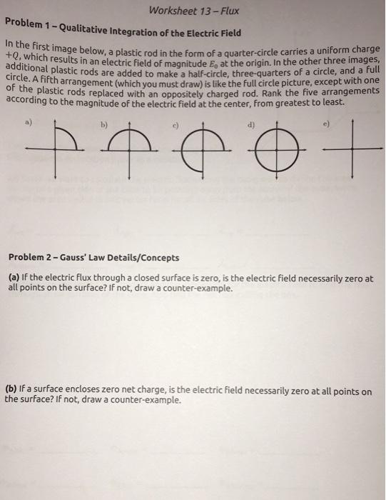 Solved: Worksheet 13-Flux Problem 1 - Qualitative Integrat