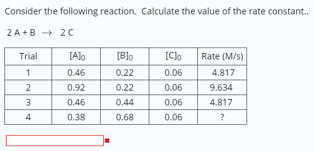 Consider the following reaction. Calculate the value of the rate constant.. 2 A+ B-20C Trial [AJo 0.46 0.92 0.46 0.38 Blo 0.22 0.22 0.44 0.68 [Co Rate (M/s) 0.06 0.06 0.06 0.06 4.817 9.634 4.817 2 4
