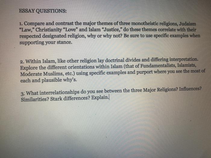 Essay Questions 1 Compare And Contrast The Major Chegg Com