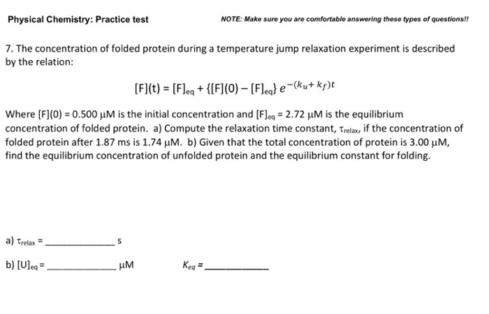 Physical Chemistry: Practice Test NOTE: Make Sure     | Chegg com