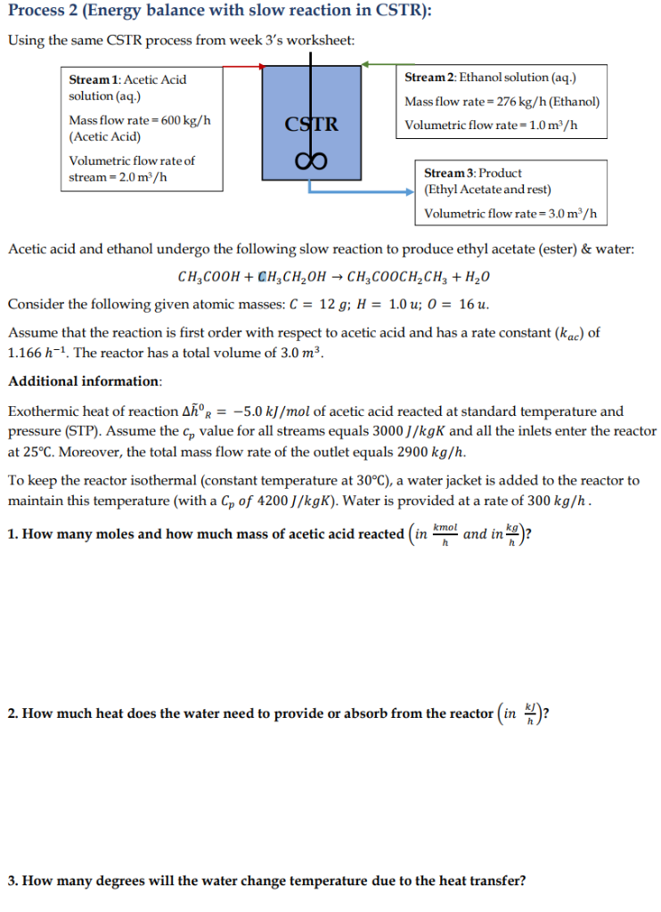 Solved: Process 2 (Energy Balance With Slow Reaction In CS ...