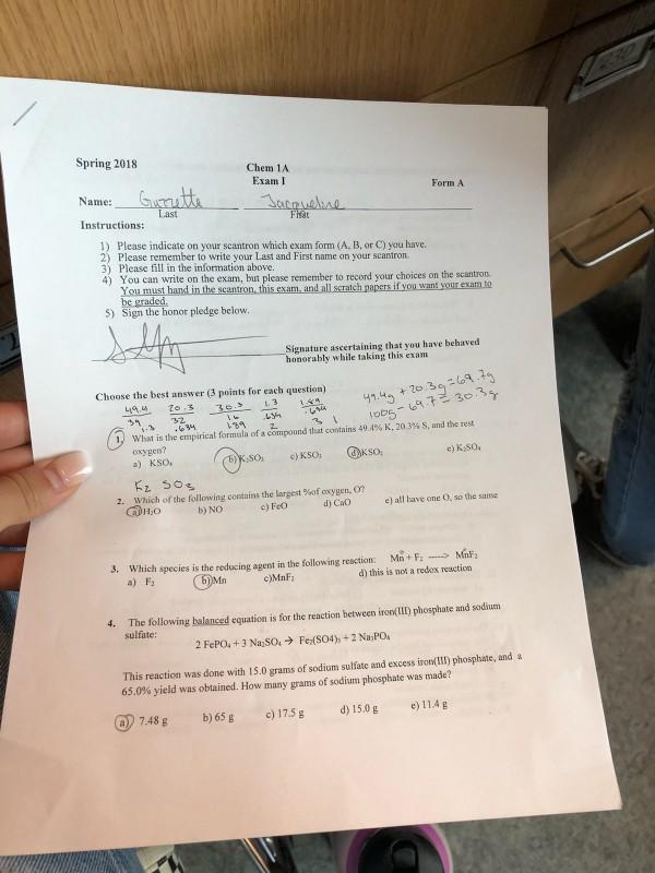 Solved Spring 2018 Chem 1a Exam I Form A Name Last Instr