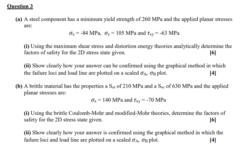 Solved: Question 3 (a) A Steel Component Has A Minimum Yie