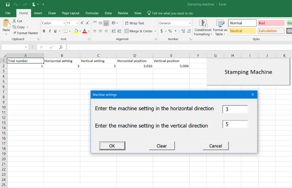 Solved: Stamping Machine - Excel File Home Insert Draw Pag