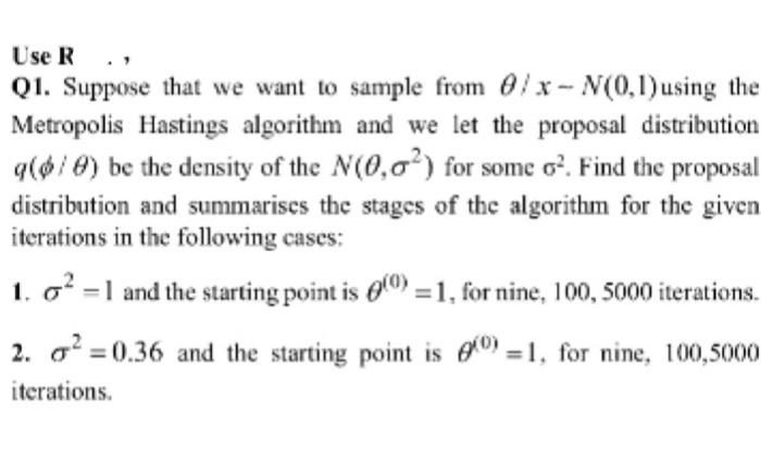 Solved: Use R   , Q1  Suppose That We Want To Sample From