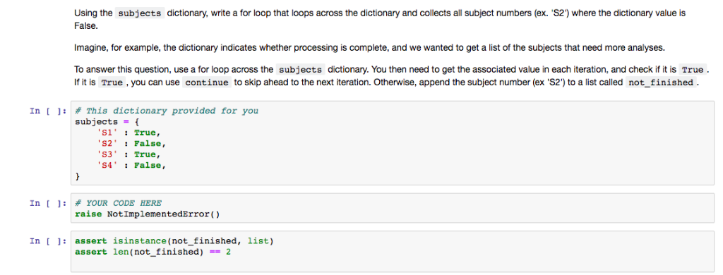 Solved: Using The Subjects Dictionary, Write A For Loop Th