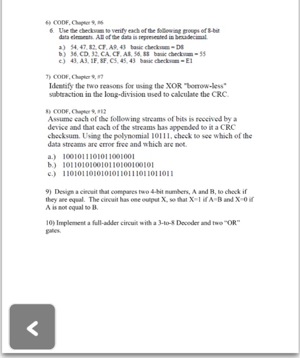 Solved: CODF, Chapter 9, #6  Use The Checksum To Verify Ea
