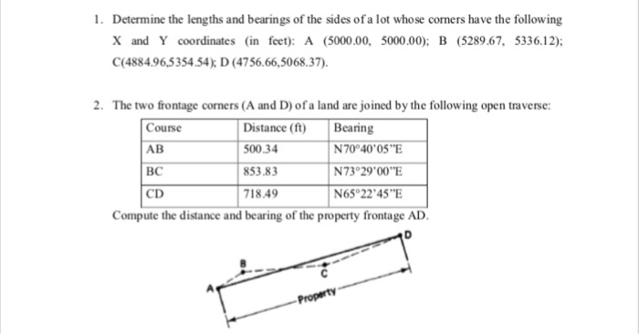 Solved: Determine The Lengths And Bearings Of The Sides Of