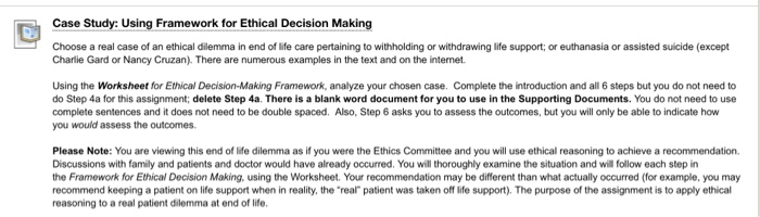 Case Studys Using Framework For Ethical Decision M    | Chegg com