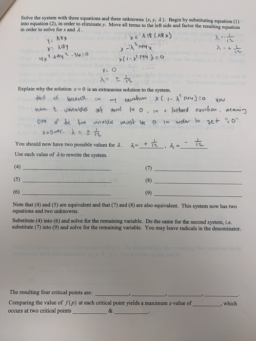 Solved: Needing Some Calculus 3 Help  I Have A Worksheet O