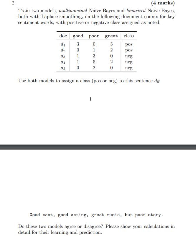 2  (4 Marks) Train Two Models, Multinominal Naïve
