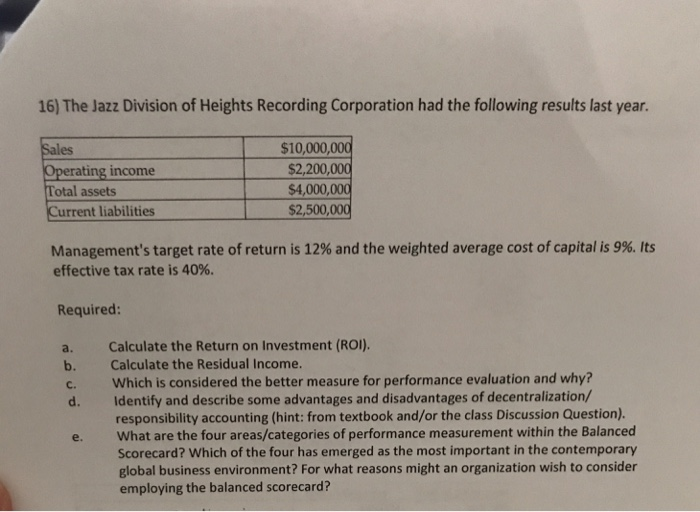 4467c65928e4c 16) The Jazz Division of Heights Recording Corporation had the following  results last year.