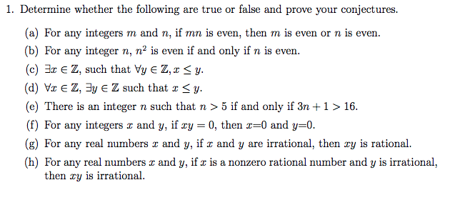Solved: 1  Determine Whether The Following Are True Or Fal