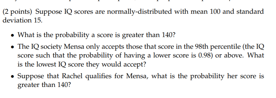 Solved: (2 Points) Suppose IQ Scores Are Normally-distribu