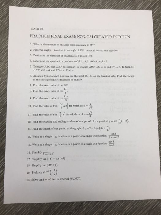 MATH 135 PRACTICE FINAL EXAM: NON-CALCULATOR PORTI