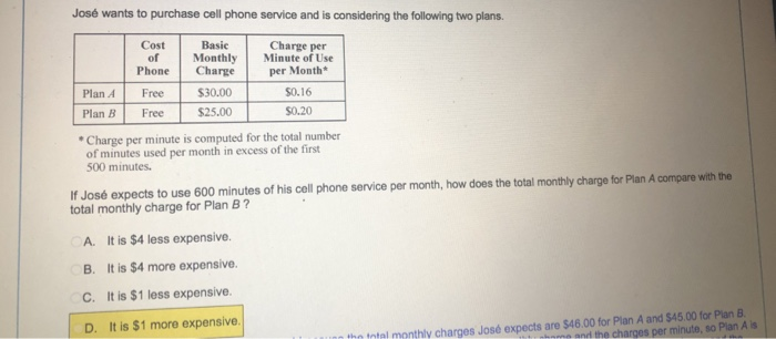 José Wants To Purchase Cell Phone Service And Is Considering The Following Two Plans Cost Basic