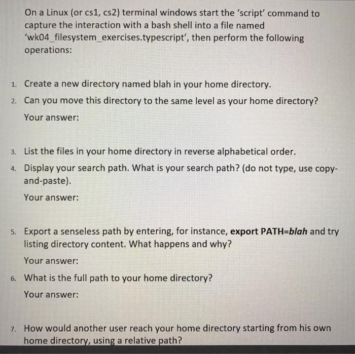 Solved: On A Linux (or Cs1, Cs2) Terminal Windows Start Th
