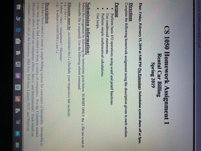 CS 1050 Homework Assignment 1 Rental Car Billing S    | Chegg com