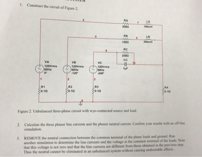 Solved: Construct The Circuit Of Figure 2. Unbalanced Thre ...