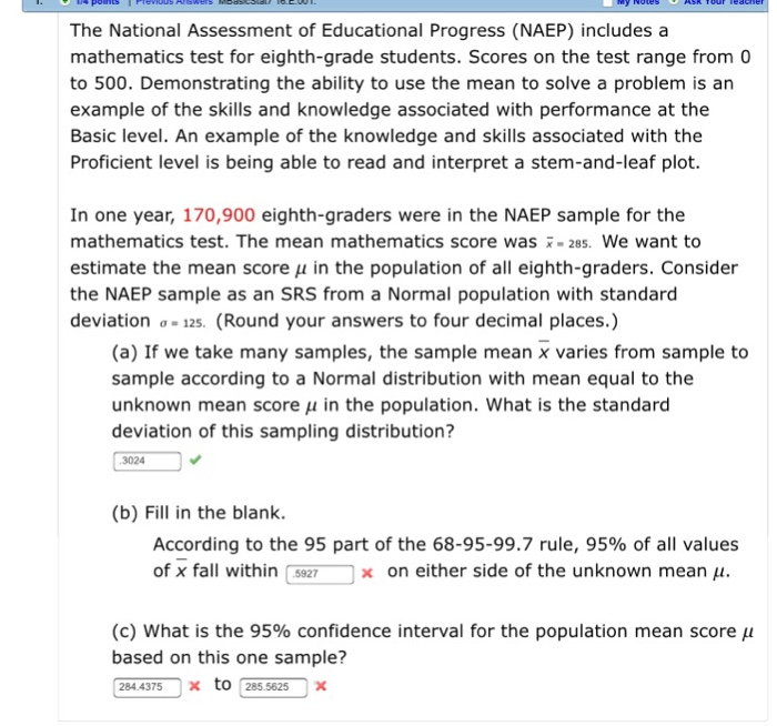Solved: The National Assessment Of Educational Progress (N