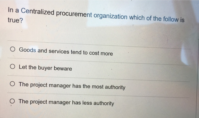 Solved: In A Centralized Procurement Organization Which Of