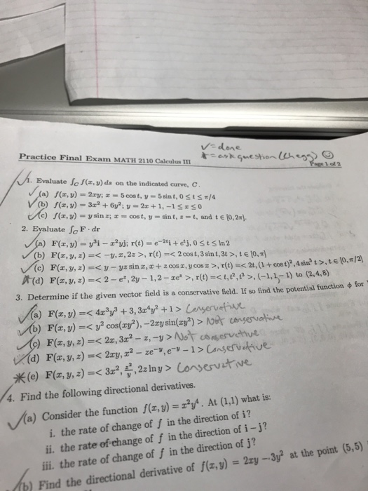Solved: Practice Final Exam MATH 2110 Calculus III Done Ev