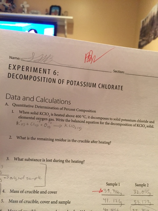 composition of potassium chlorate lab answers